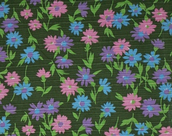 1960s Vintage Crantex Textured Cotton Fabric Forest Green and Groovy Dark Pastel Flowers By The Yard