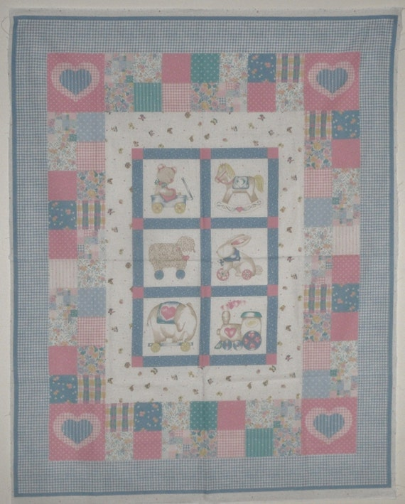 Vintage Quilt Cheater Panel Baby Quilt Top By By