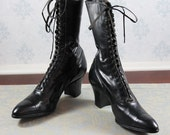 Antique Edwardian to 1910's Black Leather Lace Up Boots