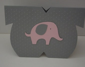 Pink Elephant Party Favor Elephant Die Cut Favor Its a Girl Baby Shower Party Favor Card Onesie Party Favor - Set of 10