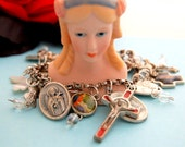 Prayer Bracelet full of unique & vintage Chrisian medals, charms, crosses