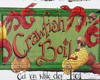 "CRAWFISH BOIL** 11"" x17"" Print of Original Acrylic on Canvas"