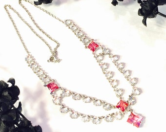 Art Deco Sterling Silver Open Back Pink Crystal Vintage Bib Festoon Vintage Necklace