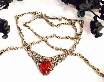 Arts N Crafts Art Nouveau Ornate Sterling Silver Amber Vintage Necklace