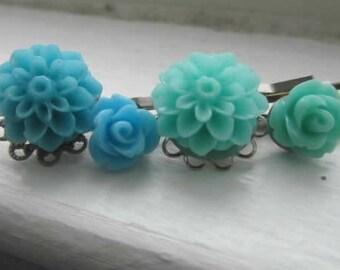 Blue mum, aqua mum, blue rose, aqua rose, daisy hair bobby pin choose your own 4pcs
