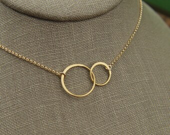 Gold linked together circles and gold filled necklace, gold rings, two circles, joined ring necklace, gold jewelry, wedding jewelry