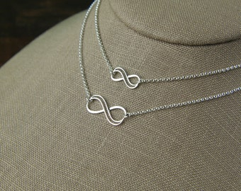 Mother and daughter sterling silver double wire infinity symbol necklaces, eternity necklace, infinity jewelry