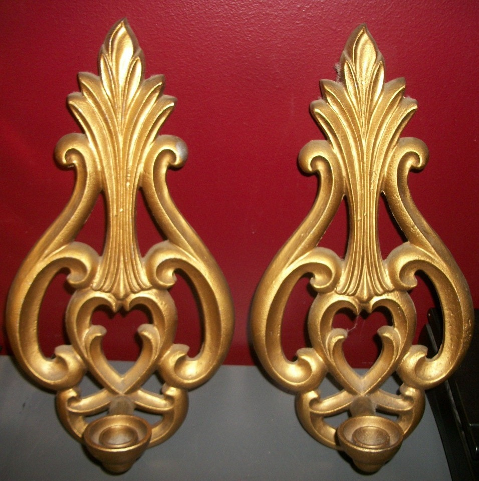 Gold Metal Flourish Wall Candle Sconces Hollywood Regency