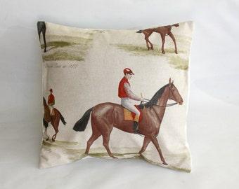 Decorative pillow Horse design brown black red green throw pillow cover cushion shams designer fabric One 18 inch jockey rider