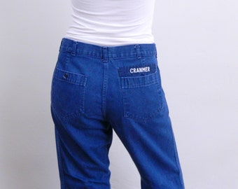 Vintage Sailor Jeans ... Authentic Naval Issue Blue Jeans ... High Waist with Patch Pockets ... Size Medium