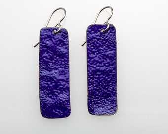 Enamel Earrings. Cobalt Blue Rectangles on Titanium Earwires. Enameled Jewelry.