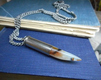 Once Bitten. Calico- White Agate with orange  & black spots Upcycled  bullet shell unisex necklace