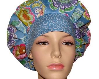 Scrub Hats - Dori Floral In Periwinkle Blue