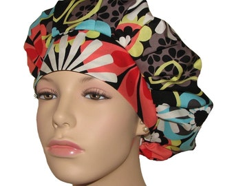 Scrub Hats - Flower Shower In Clementine