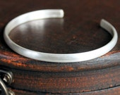 Mens Thin Silver Cuff Bracelet, Mens Sterling Bangle, Simple Band Brushed Finish