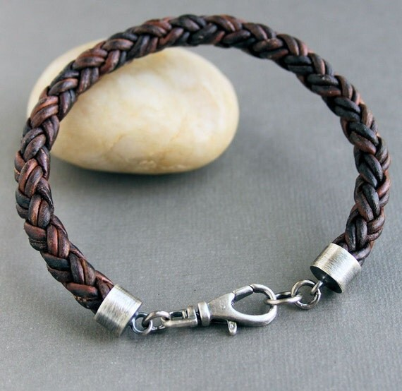 Mens Braided Leather Bracelet Thick Brown Sterling Silver