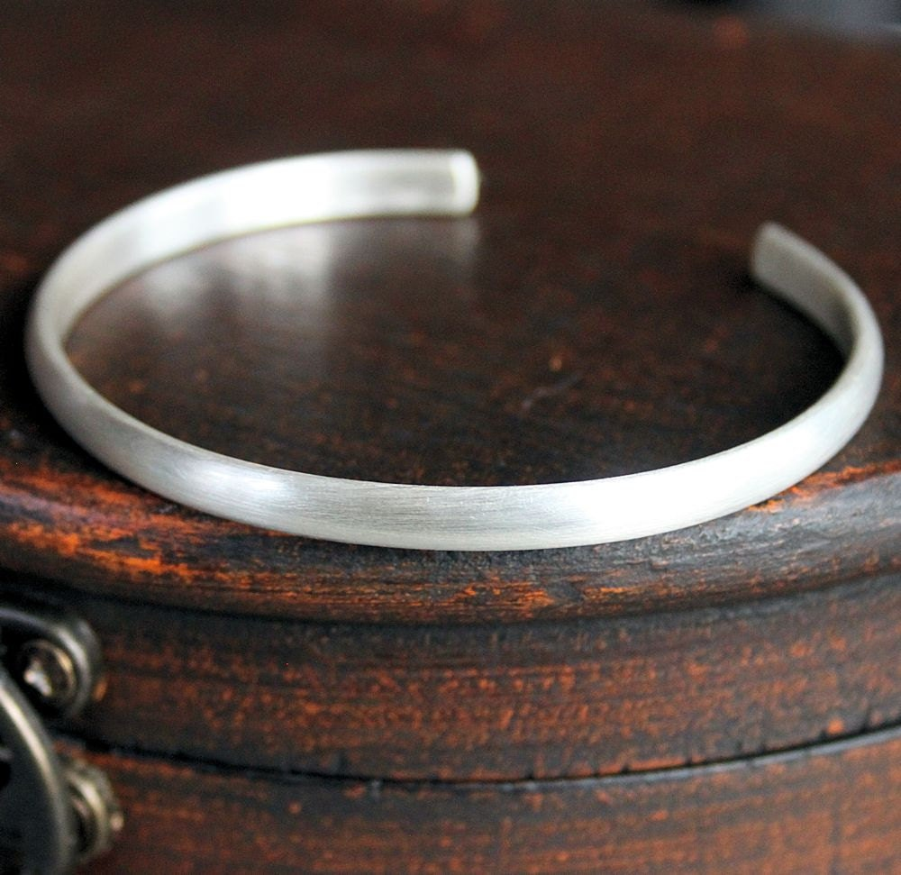 Mens Thin Silver Cuff Bracelet Mens Sterling Bangle Simple
