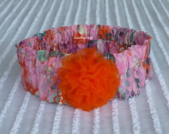"Orange, Pink & Teal Dog Scrunchie Collar - chiffon rosette - Size XL: 18"" - 20"" neck - TrY Me PRiCe"