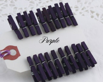 Purple Eggplant Mini Clothespins, Tiny Clothespins, 4 Sizes, Wedding Favors, Party Supplies, Gift Wrap, Crafts, Photo Clips, Wish Tree Clips