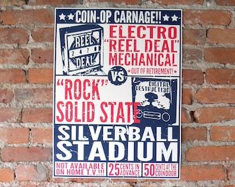 Pinball Poster - Coin-Op Carnage Old Glory Colors - EM v. SS Silverball Stadium 18x24