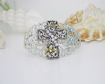 Cross Bracelet, Silver Jewelry, Silver Bracelet, Religious Jewelry, Cuff Bracelet, Christian Bracelet, Bracelet Cuff, Silver Cuff, B252