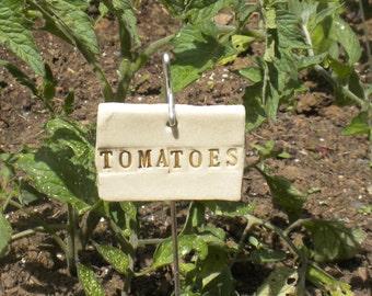 Handmade Ceramic Tomatoes Plant Marker