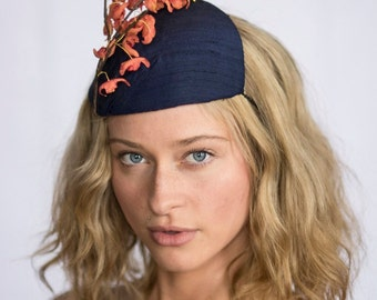Navy Blue Cocktail Hat Tangerine Silk Forsythia, Mariko