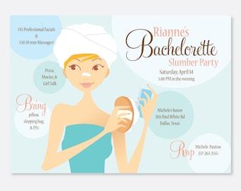 Slumber Party Invitation, Spa Invitation, Bachelorette Party Invitation, Bridesmaid Invitation, Custom Invitation