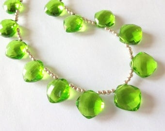 Use TAKE10 for 10% off! REDUCED, PERIDOT Green Hydro Quartz Faceted Cushion Briolettes, (1) Matched Pair, 12mm, earrings