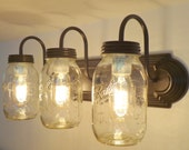 MASON JAR Wall Sconce NEW Quart Trio Light Vanity