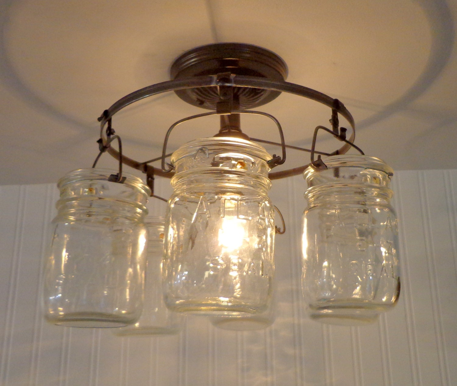 mason jar ceiling light fixture ring of hanging pints. Black Bedroom Furniture Sets. Home Design Ideas