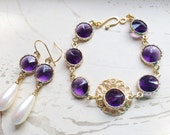 Jewel Gold Filigree Bracelet and Earring Set Purple by MinouBazaar