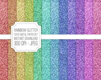 INSTANT DOWNLOAD Rainbow Glitter Digital Paper Set
