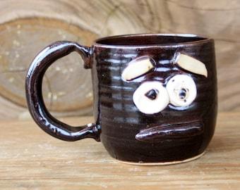 Sad Pottery Mug. 12 Ounce Black Coffee Cup. Microwave Dishwasher Safe Stoneware Pottery Tea Cup. Ceramic Clay Mug.