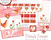 Forever Friends Valentine Collection INSTANT DOWNLOAD Bible Bookmarks Valentine Art Cards NotePad Tags Hearts and Birds