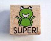 Super Frog Rubber Stamp (Woodblock Craft Stamp) Teacher Rubber Stamp • Classroom Supplies • Frog Stamp (B5044)
