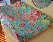 Changing Pad Cover in Teal Bliss Floral Pattern