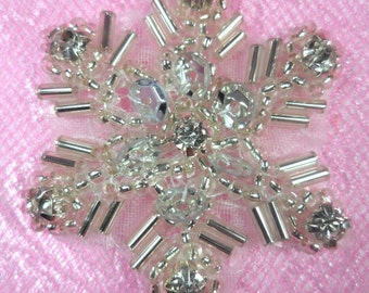 "XR284 Sequin Snowflake Applique Silver Beaded Crystal Rhinestone  1.5"" (XR284-slcr)"