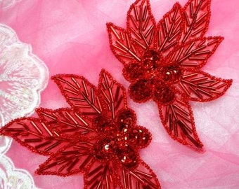 "FS1020 Red Mirror Pair Floral Beaded Sequin Appliques 4.5"" (FS1020X-rd)"
