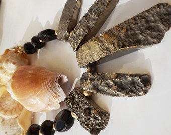 Golden Nugget Necklace - Gold Agate Necklace, Natural Stone, Golden Agate - Bold Modern Jewlery