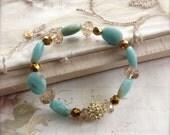 Light Blue Bracelet - Amazonite Gemstone Stretch Bangle - Pave Bead Accessory - Reiki Jewelry