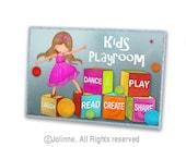 Playroom door sign, kids door plaque, personalized art for children, kids room decor, playroom art, kids play, door plaque, kids room sign