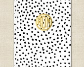 Spiral Notebook - Monogrammed in Gold Foil Effect in Dalmation Pattern - Personalized Notebook by A Blissful Nest
