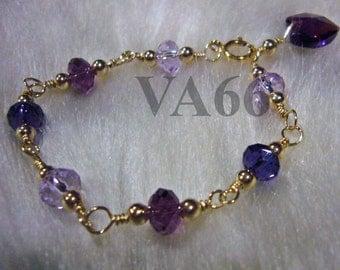 Baby Toddler Swarovski Crystal Donut Bracelet Purple 14k gold filled 925 silver U Choose Color Child size Girl Christening custom made