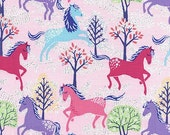 Novelty Prints From Timeless Treasures Fabric GLITTER SHIMMER Pink Purple Blue Horses in Forest on Light Pink