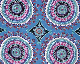 Haute Girls Fabric by Dena Designs Large Ornate Intricate Pattrened Tile Circles BLACK