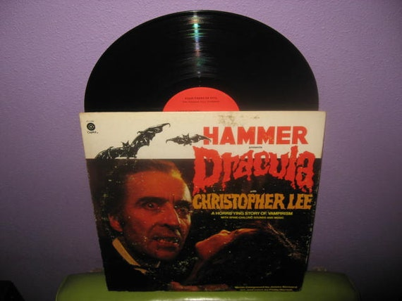 Rare Vinyl Record Hammer Presents Dracula Story and Music LP 1974 Horror Christopher Lee Narrates Halloween