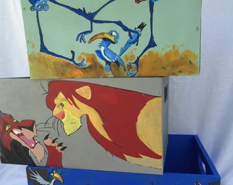 The Lion King handpainted wooden storage totes, monogrammed