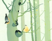 Nuthatches in Woods - Hand Pulled Screen Print