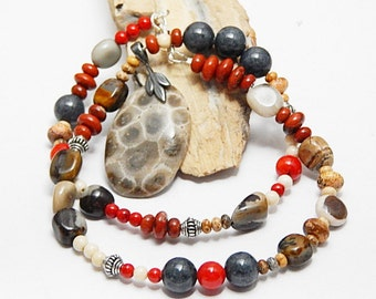 Colorful Petoskey stone pendant necklace, beaded gemstones, Hand Polished, Fossil, Michigan Gem, Love Up North Stone